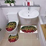 Printed Bath Rug Set,Rasta,African Ethiopian Culture Wild Lion Head Grunge Style Flag Colors Decorative,Brown Marigold Pink and Green,Bath mat Set Round-Shaped Toilet Mat Area Rug Toilet Lid Covers 3