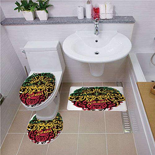 ,Rasta,African Ethiopian Culture Wild Lion Head Grunge Style Flag Colors Decorative,Brown Marigold Pink and Green,Bath mat Set Round-Shaped Toilet Mat Area Rug Toilet Lid Covers 3 ()