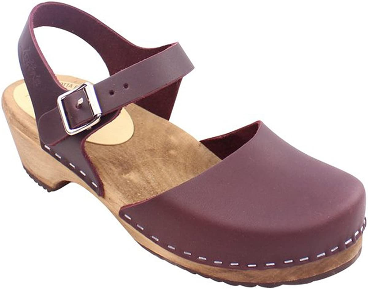 Lotta From Stockholm Swedish Clogs Low Wood in Aubergine On Brown Base