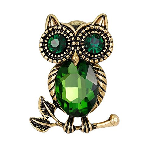 Lanzy Women's Emerald Color Austrian Crystal Retro Style Owl Branch Brooch Pin Vintage Gold Tone