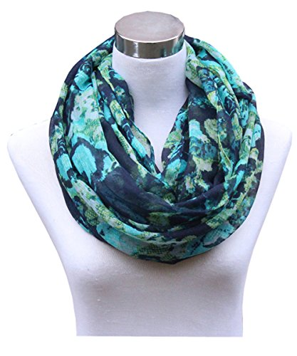 Leaf Print Fashion (Lucky Leaf Women Lightweight Cozy Infinity Loop Scarf with Various Artist Print (Navy Green))