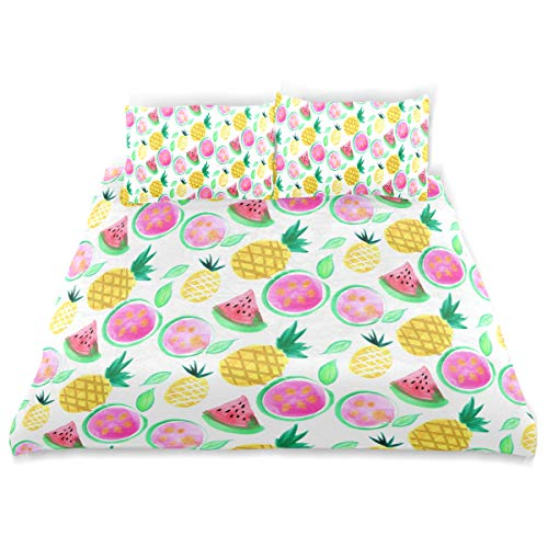 - OSBLI Bedding Duvet Cover Set 3 Pieces Summer Fun Fruit Bed Sheets Sets and 2 Pillowcase for Teens