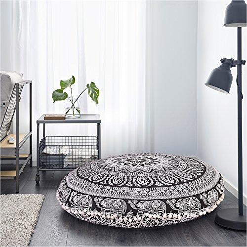 Round Pouf Cover Bohemian Cushion Cover Ottoman Mandala Floor Pillows Mandala Floor Pillow Comfortable (Poof Pillow)