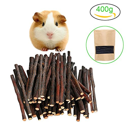 Malier 400g (14oz) Apple Sticks Pet Snacks Chew Toys for Guinea Pigs Chinchilla Squirrel Rabbits Parrot hamster degus gerbil ( About 120 - 140 Sticks (Apple Chew Stick)