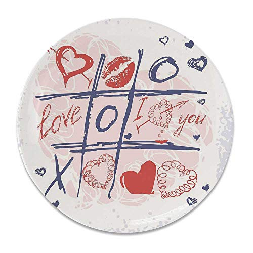 YOLIYANA Valentines Day Decor Round Ceramic Decorative Plate,XOXO Game with Lips Sketchy Circles Hearts Romantic Love Theme for Table Or Wall,8 inch