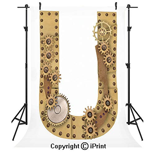 Letter U Photography Backdrops,Dieselpunk Fantasy Mechanism with Plates U Font Structure Gearwheel Theme Print Decorative,Birthday Party Seamless Photo Studio Booth Background Banner 6x9ft,Sand Brown