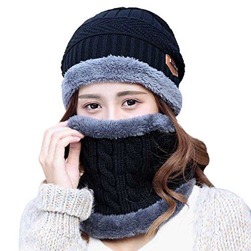 HINDAWI Womens Beanie Winter Hat Scarf Set Slouchy Warm Snow Knit Skull Cap ()