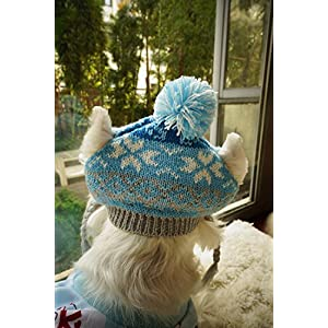 Classic Warm Knit Hats Accessory for Kitty Cats Puppy Dogs, Snowflake Blue Grey XSmall