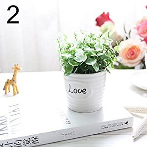 FYYDNZA Small Artificial Plants Decorative Flowers Mini Potted Kettle Bonsai Valentine'S Day Grass Handmade Gift 1 Set (Plants + Vase),2 12
