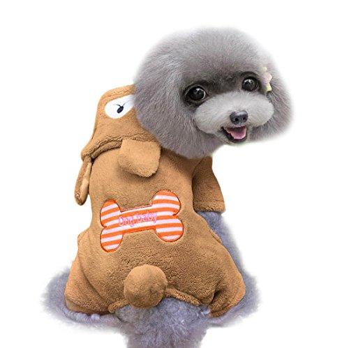haoricu Pet Clothes, Bone Printed Coral cashmere Winter Warm Coat chien Jumpsuit Pet Puppy Soft Warm Clothes (XL, Brown)