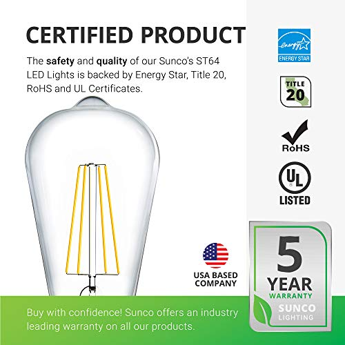Sunco Lighting 12 Pack ST64 LED Bulb, Dimmable, Waterproof, 8.5W=60W, 6000K Daylight Deluxe, Vintage Edison Filament Bulb, 800 LM, E26 Base, Restaurant or String Lights - UL