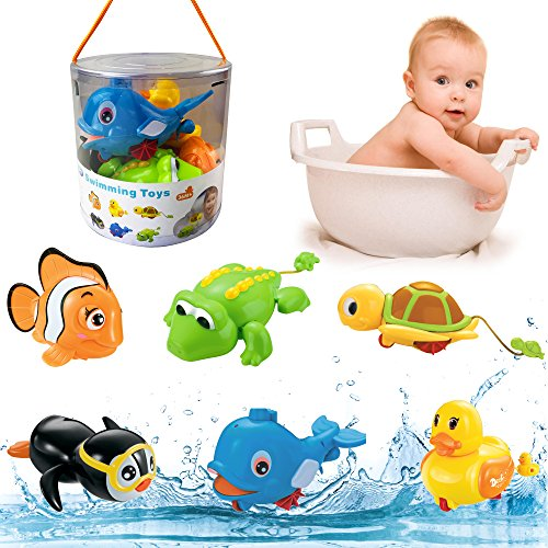 Liberty Imports 6 Pack - Swimming Wind Up Sea Animals in The Bathtub Windup Motorized Water Toy for Children Kids Toddlers Bath Time Fun (Turtle, Fish, Duck, Dolphin, Penguin, Alligator) ()