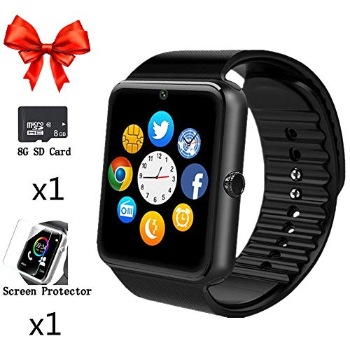 Aidiado Smart Watch,Bluetooth Touch Screen Wrist Watch Phone Fitness Tracker SIM Card Slot Camera,Smartwatch with Pedometer Compatible iPhone Samsung Android iOS LG Phones Men Women Kids