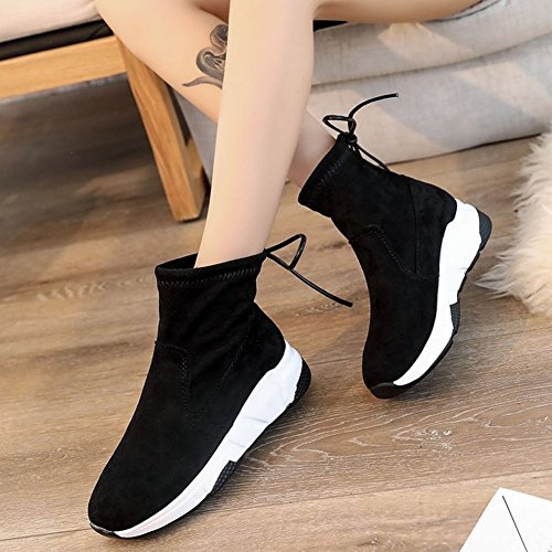 de Puro de Planas Femeninas Color de Gruesas Zapatos Gamuza Estudiante Botas con Botas Borlas de wFqAtdzz