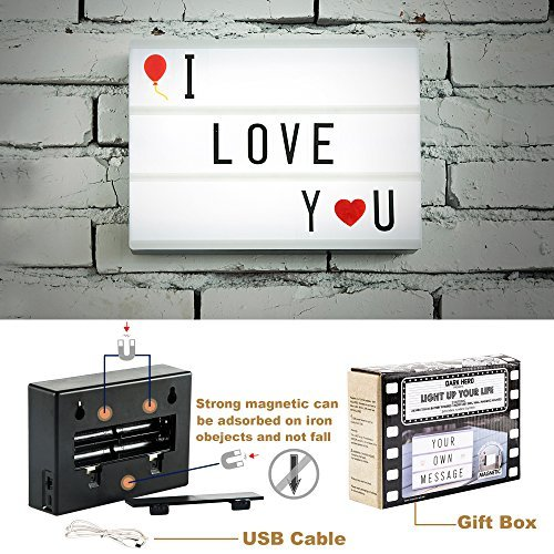 DIY Cinema Light Box A6 Mini Size with USB Cable Letters and Symbols Portable Led Light Box Home Decor (Black and White-A6)