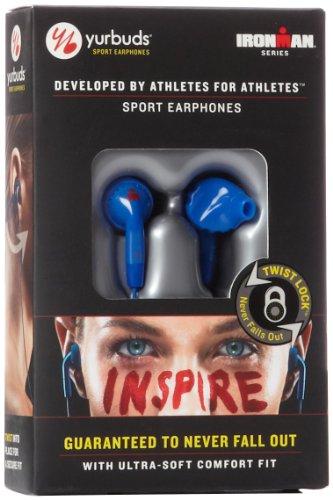 Yurbuds Ironman Inspire Blue In-Ear Earbud Sport Headphones with TwistLock Technology Earphones, Sweat Resistant, Cobalt