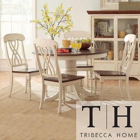 Amazon.com: Tribecca Home Mackenzie 5 Piece Country Antique White Dining Set:  Kitchen U0026 Dining