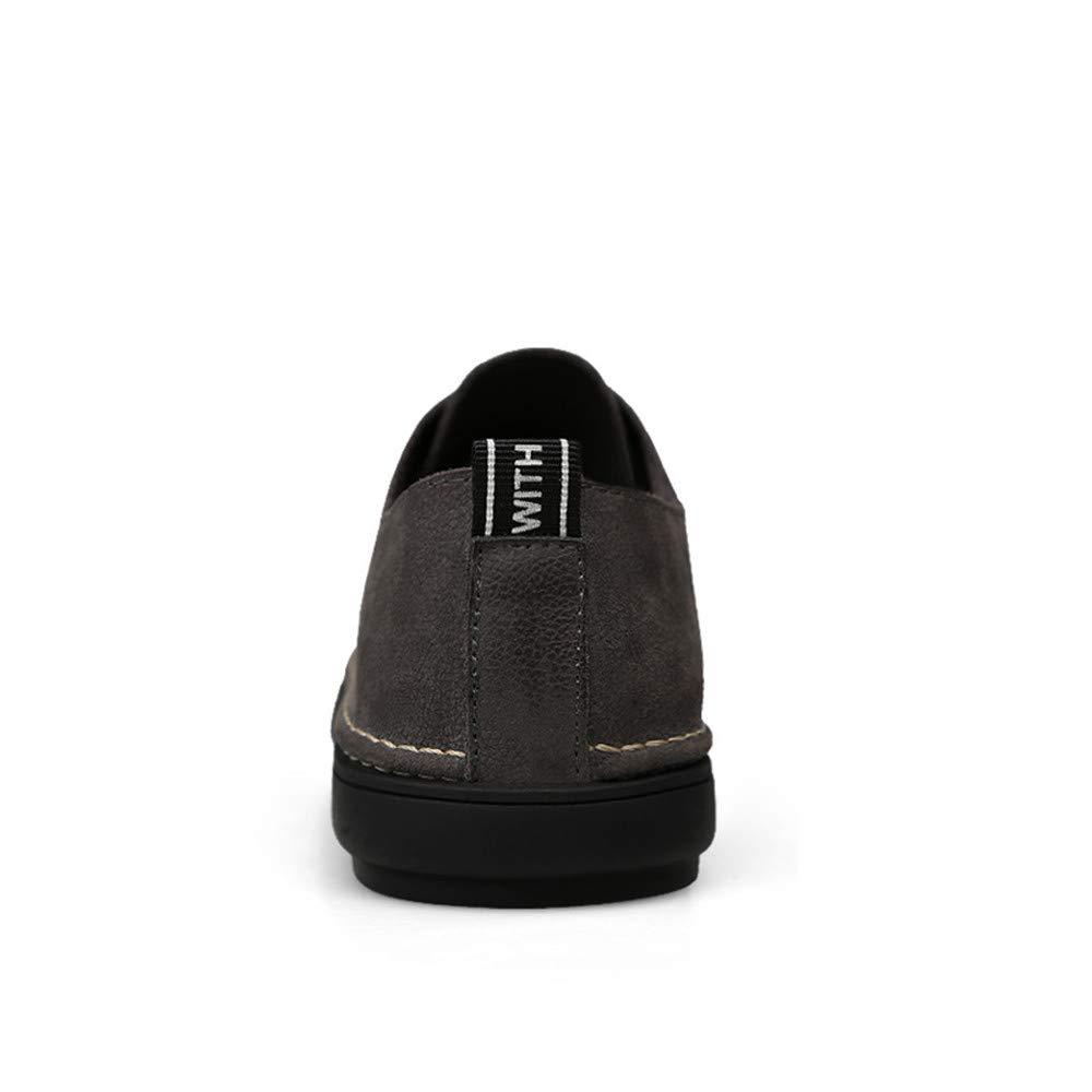 Sunny&Baby Leichte leichte Oxfords Flache Ferse Runde Abriebfeste Toe Lace Up Freizeitschuhe Abriebfeste Runde (Farbe : Schwarz, Größe : 46 EU) Grau 118316