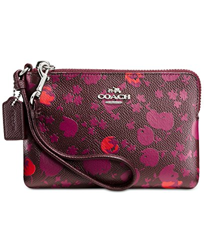 COACH Women's Floral Printed Leather Corner Zip SV/Oxblood Prairie Calico (Printed Coaches)