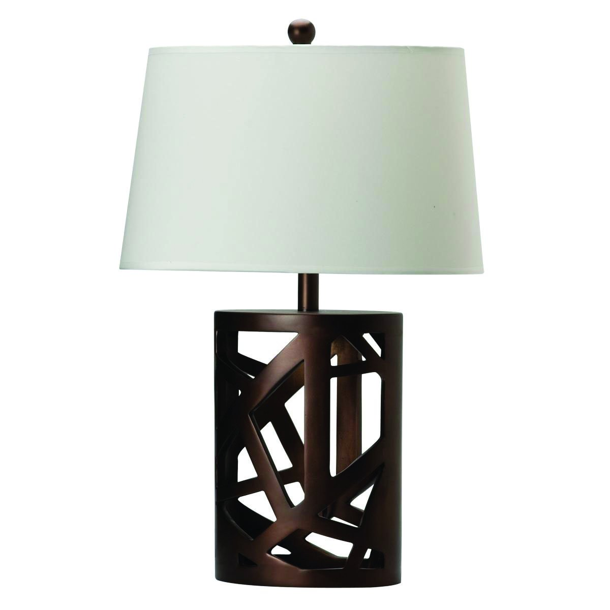 Coaster Transitional Warm Brown Table Lamp with Wood Cut-Out Base