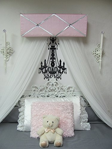 Canopy bedroom nursery crib Ballet CrOwN Princess Bed Pink Gray Silver Pelmet Upholstered Awning FrEe ShiPPinG Custom So Zoey Boutique SALE