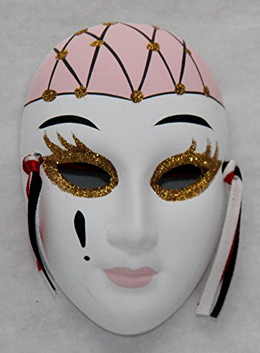 Porcelain Mask, White,with Pink and Gold , Size4