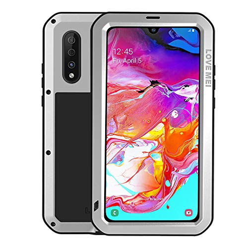 Simicoo Samsung A70 Aluminum Alloy Metal Bumper Silicone Case Hybrid Military Shockproof Heavy Duty Armor Defender Tough Built-in Gorilla Glass Cover for Galaxy A70 (Sliver, A70) (Aluminum Hybrid Silicone)
