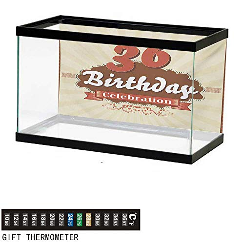 "wwwhsl Aquarium Background,36th Birthday,Birthday Celebration Invite Chocolate Wrap Like Image Middle Age,Cinnamon and Brown Fish Tank Backdrop 48"" L X 18"" H"
