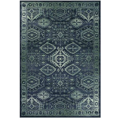 Maples Rugs Area Rug - Georgina 7 x 10 Large Area Rugs [Made in USA] for Living Room, Bedroom, and Dining Room, Navy Blue/Green ()