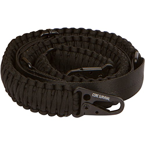 Core Survival Paracord Gun Sling Traditional 2 Point Adjustable Strap for Outdoor Sports (Black, 1.5