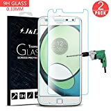 Moto Z Play Screen Protector, J&D Glass Screen Protector [Tempered Glass] HD Clear Ballistic Glass Screen Protector for Motorola Moto Z Play - Protect Screen from Drop and Scratch (2 Packs)