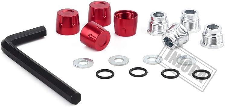 INJORA RC Rueda Nueces 4pcs Metal RC Car Wheel Nuts Cubo de Rueda M4 Nut para 1/10 RC Crawler Traxxas TRX4 Axial SCX10 90046 Tamiya MST Redcat (Rojo)