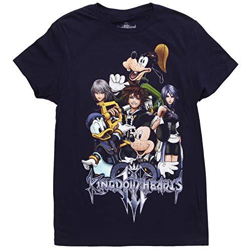 Disney Kingdom Hearts 3 Group Adult T-Shirt - Navy (X-Large) (Kingdom Hearts Mad Engine)