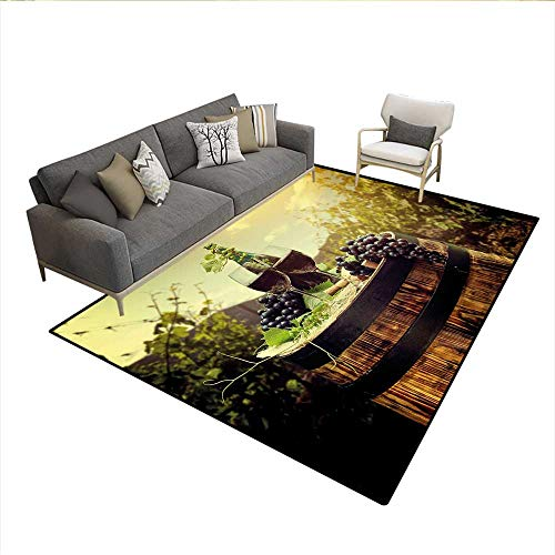 Carpet,Scenic Tuscany Landscape with Barrel Couple of Glasses and Ripe Grapes Growth,Customize Rug Pad,Green Black Brown 6'6