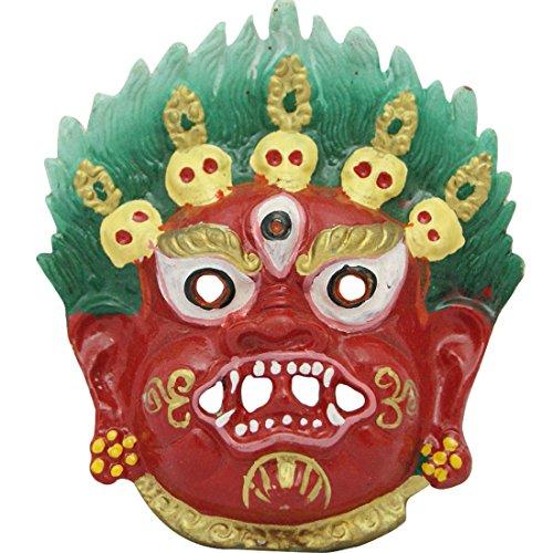 (Divya Mantra Traditional Nazar Katta Mahakal Evil Eye Protector Vastu Wall Hanging Mount/Tibetan Buddhism Feng Shui Art Antique Decorative Metal Sculpture Face Mask-Red)