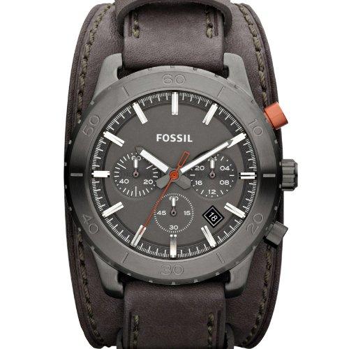 Fossil Keaton JR1418 - Reloj analógico de cuarzo para hombre, correa de cuero color gris (cronómetro): Fossil: Amazon.es: Relojes