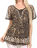 Sakkas 16482 - Ash Women's Short Sleeve Casual Tops Tie Dye Shirts Loose Blouse Shirts - Black - OSP