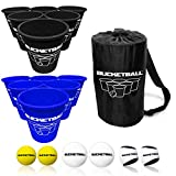 BucketBall - Team Color Edition - Combo Pack (Black/Navy Blue): Original Yard Pong Game: Best Camping, Beach, Lawn, Outdoor, Family, Adult, Tailgate Game