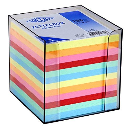 Wedo 2702651 Zettelbox 9,5 x 9,5 cm, Kunststoff rauchglas gefüllt (circa 700 Blatt - 6 farbig)
