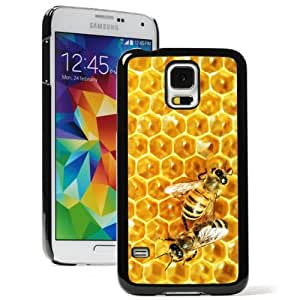 Samsung Galaxy S5 Hard Back Case Cover Color Bees on Honey Comb (Black)