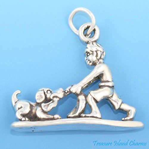 BOY Playing TUG-O-WAR with Puppy Dog PUP 3D .925 Solid Charm