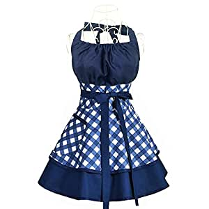 Aprons for women Plus Size,Cotton Vintage Cooking Aprons Retro Bib Kitchen Apron With Extra Ties&Pockets 22x30 inch