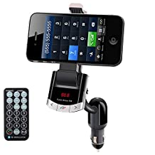 Wireless Bluetooth FM Transmitter Car Kit, Multi-functional Cell phone Mount Holder, Hands free Calling, GPS and MP3 Player, Car USB Charger for iPhone Samsung Smart Phones Tablets iPad Mini