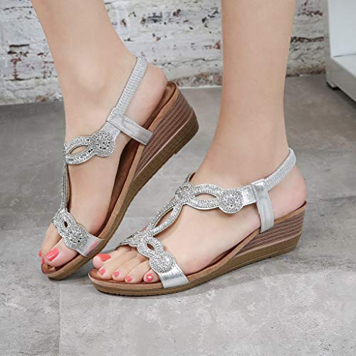 Custom Made Designer Shoes - Women Rhinestone Vintage Wedge Sandals Shoes Bohemian Casual Sandals Rome Shoes,Outsta 2019 Fashion Shoes Silver