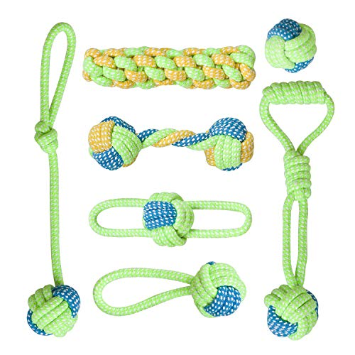 SITENG Dog Rope Toys for Aggressive Chewers – Washable Indestructible Cotton Dog Chew Toys for Puppy Small to Medium and Large Dogs – Chew Toys Set for Dog Tug of War & Teeth Cleaning