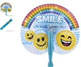 (24) 10'' Religious Folding Fans ~ ''SMILE JESUS Loves You!'' ~ CHRISTIAN FAVOR ~