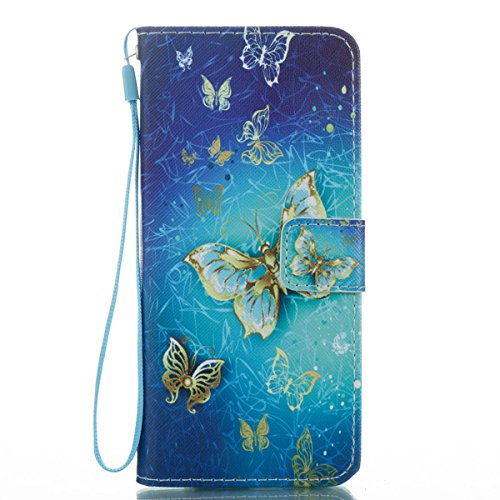 Galaxy S8 Wallet Case, S8 Flip Case, JanCalm [Wrist Strap] [Kickstand] Pattern Premium PU Leather Wallet [Card/Cash Slots] Flip Cover for Samsung Galaxy S8 + Stylus (Blue Butterfly)