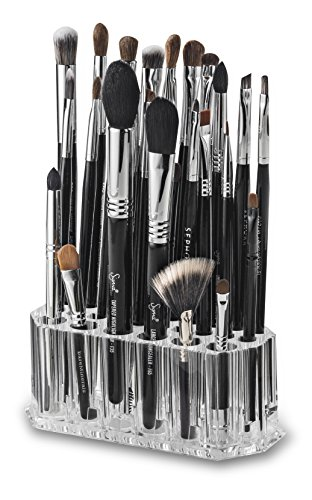 - byAlegory Acrylic Makeup Beauty Brush Organizer | 26 Space Cosmetic Storage (CLEAR)