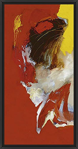 21in x 41in Triptyque Rouge I by Magis - Black Floater Framed Canvas w/ BRUSHSTROKES - Triptyque Rouge