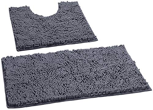 Bathroom Rugs by LuxUrux, Luxury Chenille 2-Piece Bath Mat Set, Soft Plush Anti-Slip Bath Rugs + U Shape Contoured Mat.1…